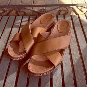 Nurture Tan Leather Criss Cross Mule Sandals